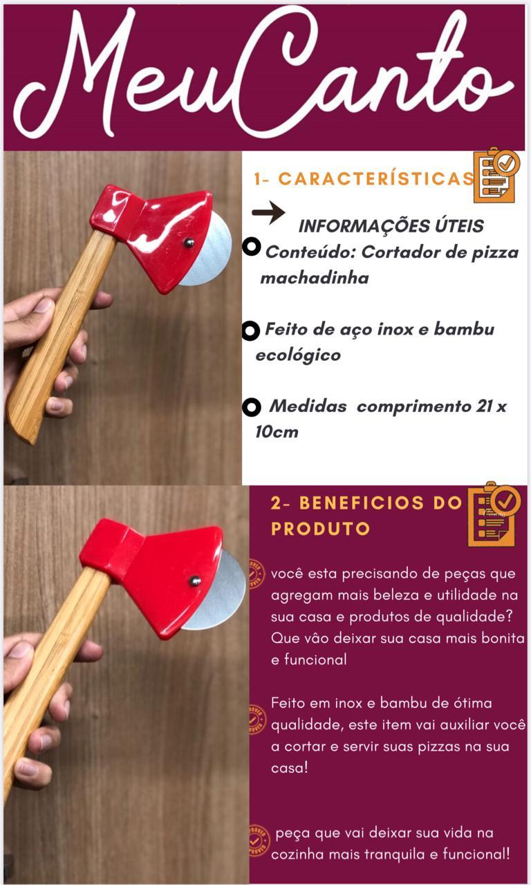 Cortador de pizza machado para servir aço inox e bambu 21cm