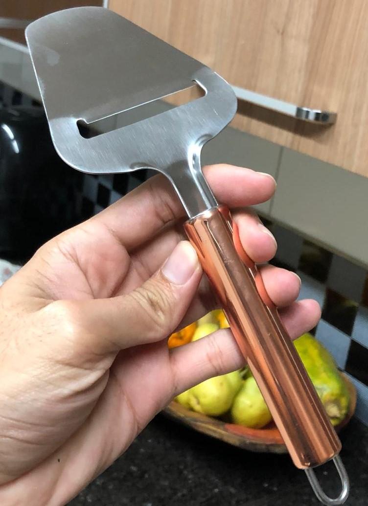 Cortador de queijo Aço inox rose cobre 23cm espatula fatiadora de queijo