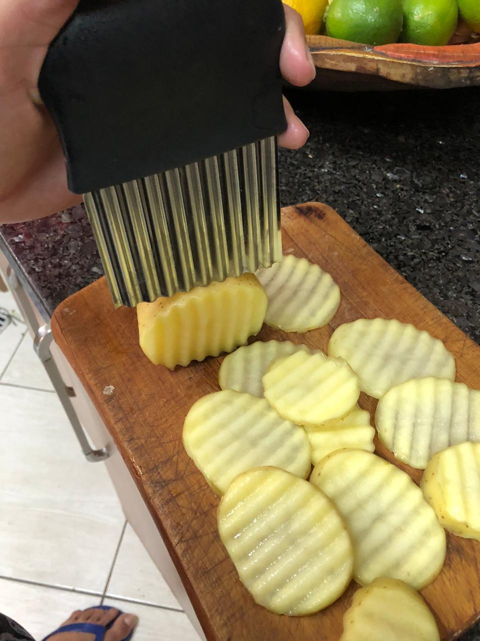 cortador ondulado fatiador de batata chips legumes em aço inox