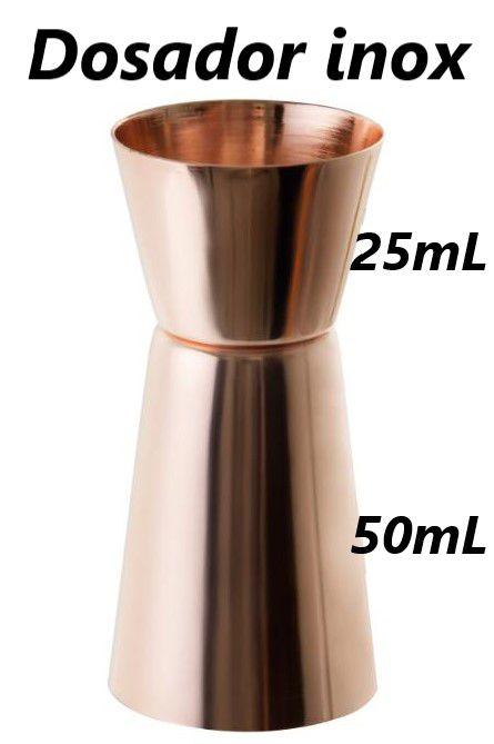 Dosador de bebidas cobre aço inox rose medidor duplo 25 e 50 mL de drinks Mimo Style coquetel