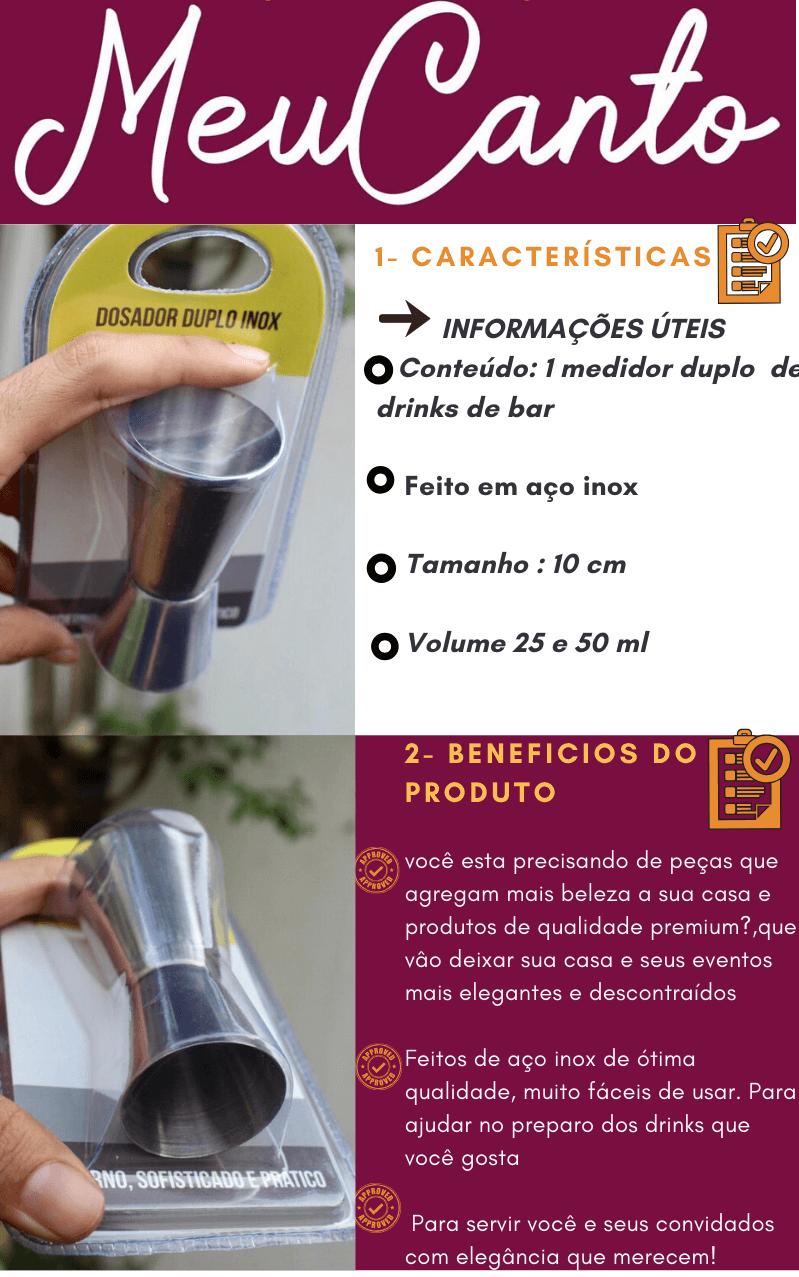 Dosador medidor de bebidas duplo 25 e 50 mL Mimo style coquetel drinks bartender