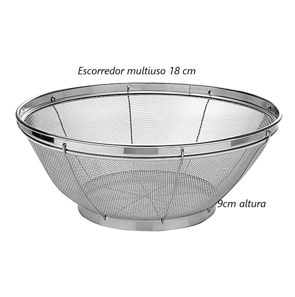 Escorredor de arroz inox macarrão peneira de cozinha coar e escorrer 18x9cm