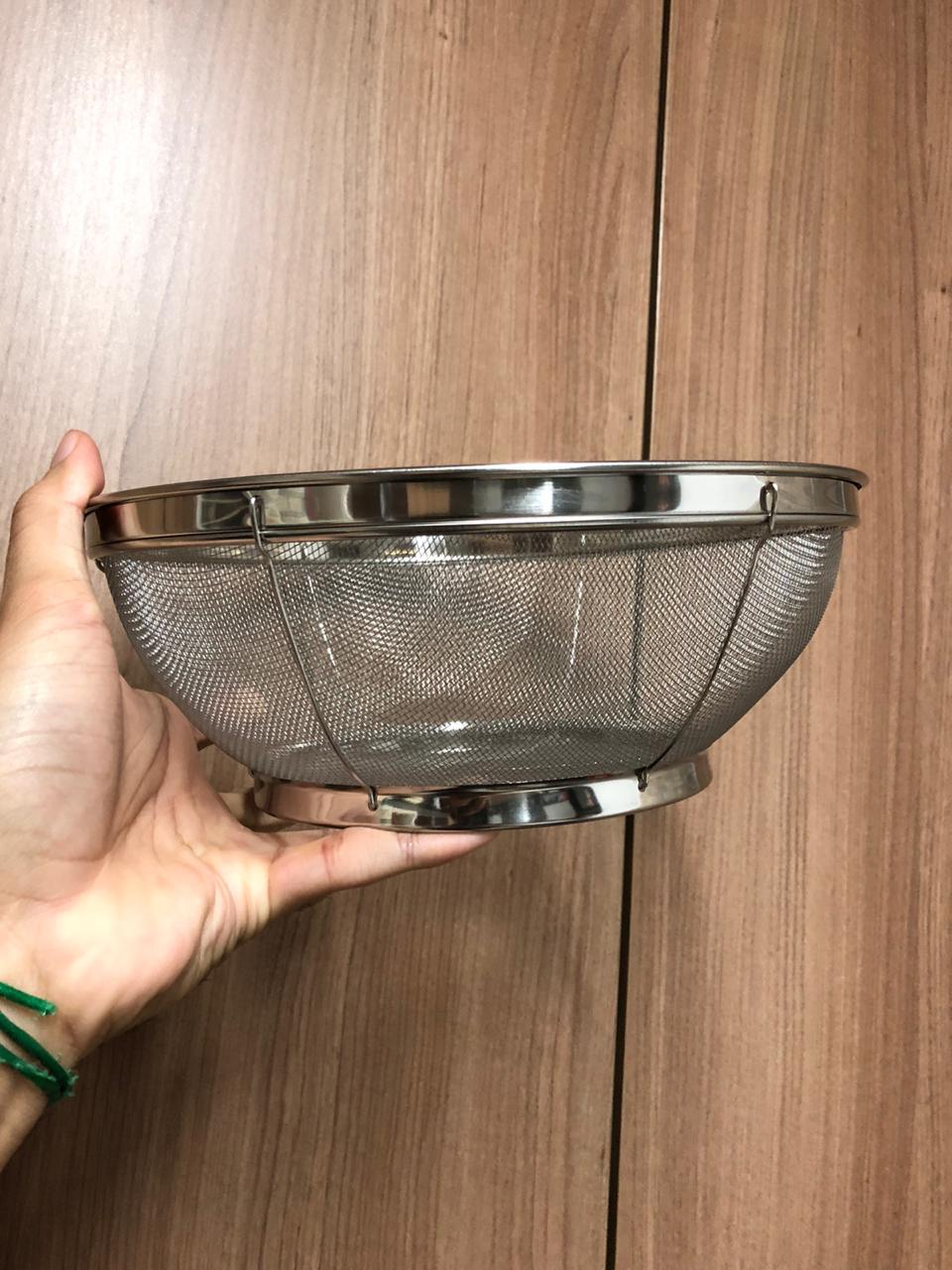 Escorredor de arroz inox macarrão peneira de cozinha coar e escorrer 25x10cm