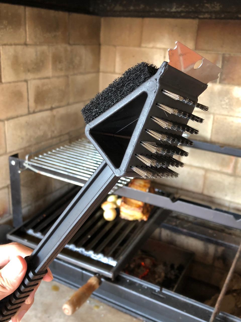 Escova para grelha limpadora de churrasqueira com cabo preta aço inox 3 em1
