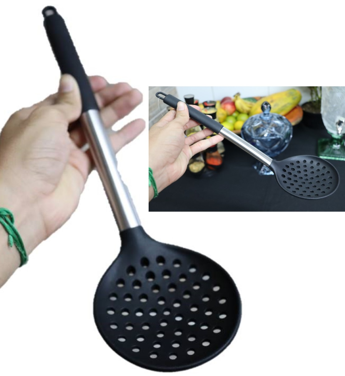 Escumadeira de silicone espumadeira para frituras pastel vazada inox  34cm utensílios de cozinha preta