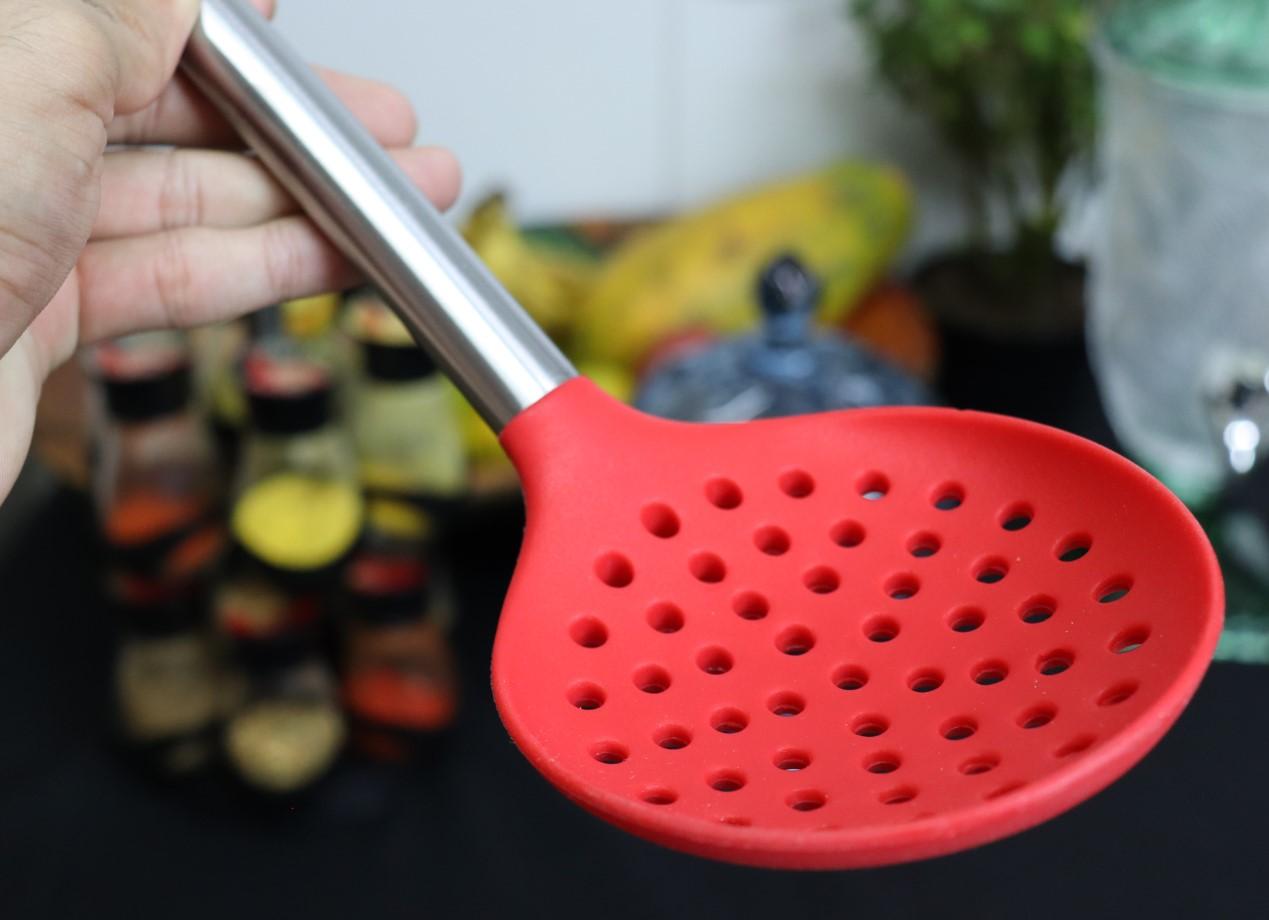 Escumadeira de silicone espumadeira para frituras pastel vazada inox utensílios de cozinha vermelha
