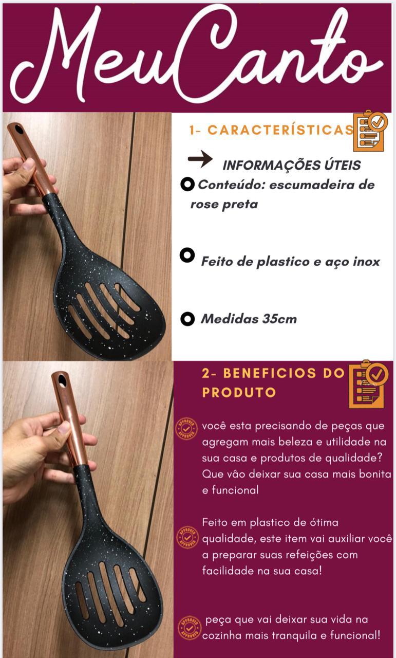 Escumadeira para frituras pp e aço inox preta rose 35cm utensilio de cozinha