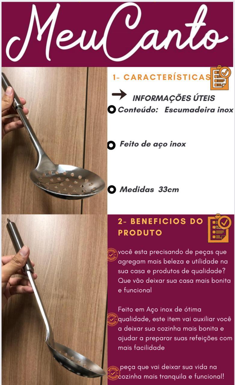 Escumadeira para frituras utensílio de cozinha em aço inox 33cm