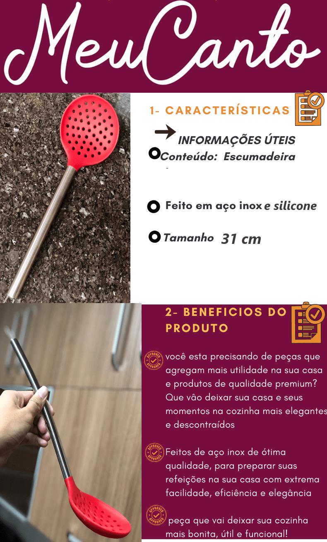 Escumadeira para frituras vermelha em aço inox com silicone 31cm MimoStyle