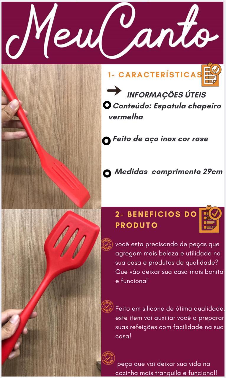 Espatula chapeiro de silicone vazada fritura vermelha29cm