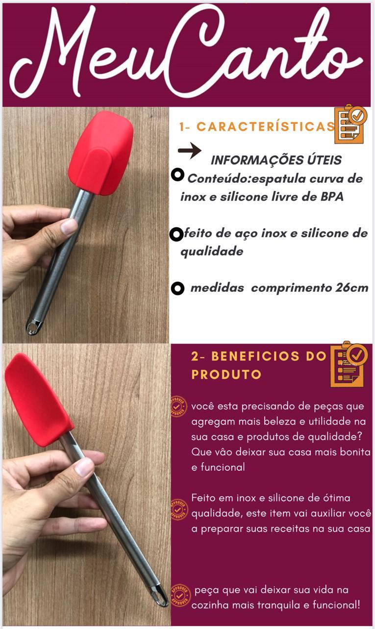 Espatula curvada pão duro fechada raspadora de inox e silicone livre de BPA 27cm vermelha MimoStyle