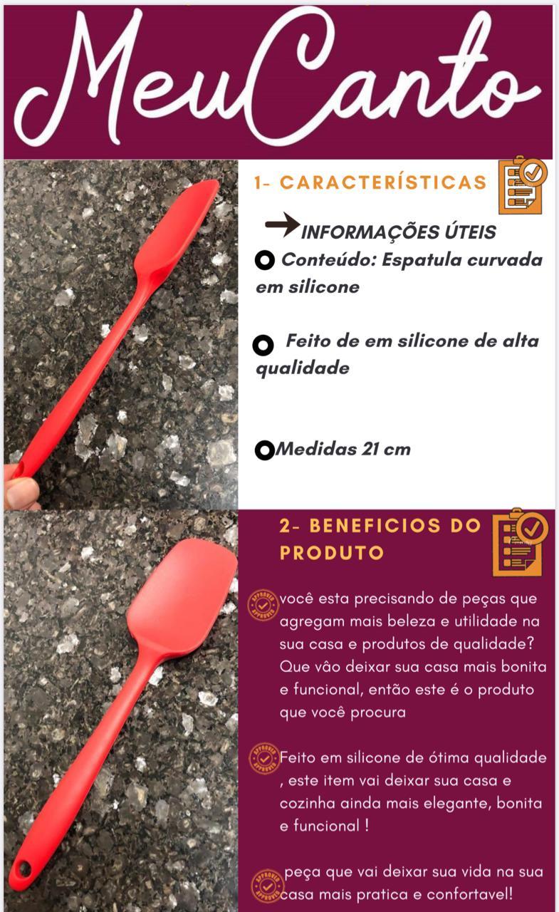 Espatula curvada pão duro fechada raspadora silicone livre de BPA 21cm vermelha MimoStyle