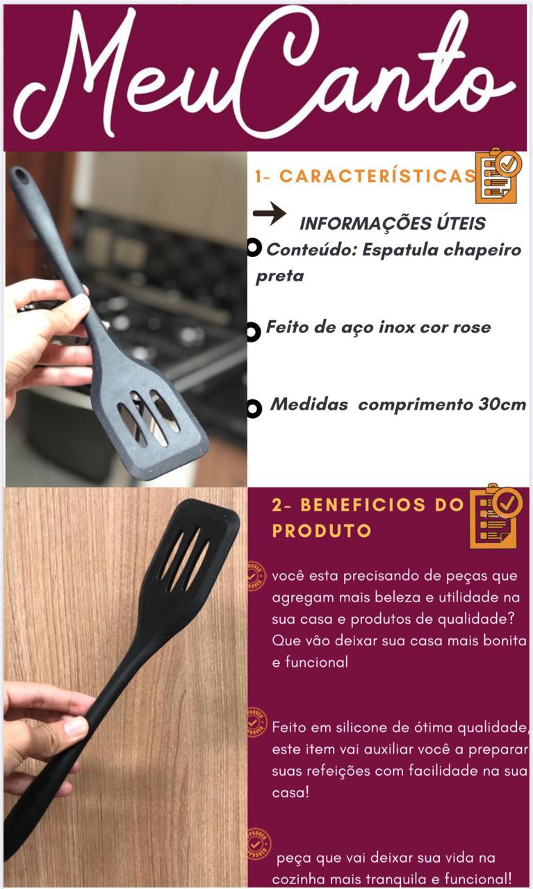 Espatula de silicone chapeiro vazada fritura preta 30cm MimoStyle