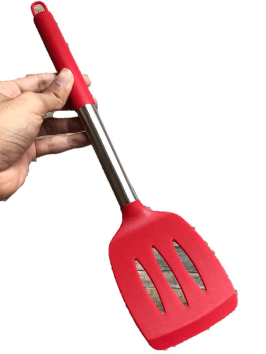Espátula de silicone cozinha chapeiro lanches vazada fritura vermelha 35cm utensilio