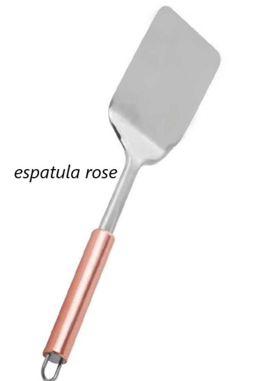 Espatula fritura fechada chapeiro rose cobre em aço inox 32 cm MimoStyle