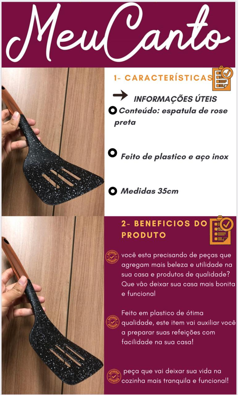 Espatula Fritura Vazada Utensílio Cozinha pp e Inox Preta rose 35cm