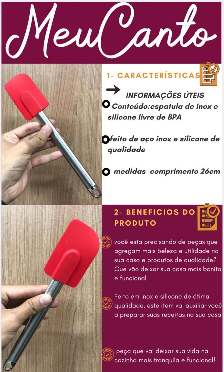 Espatula pao duro bolo fechada raspadora de inox silicone 26cm vermelha livre de bpa