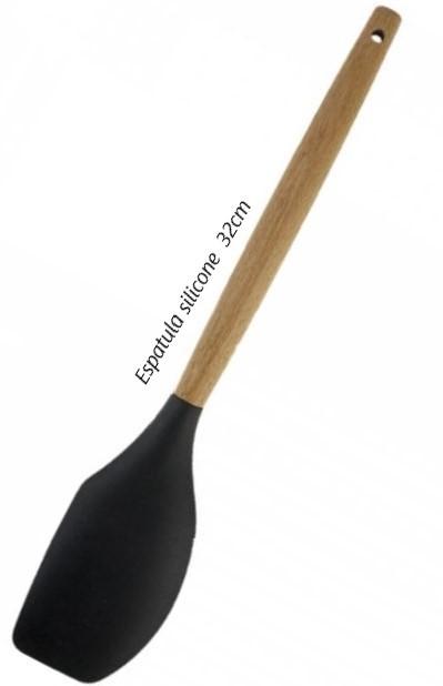 Espatula pão duro bolo fechada raspadora de madeira silicone 32cm preto livre de bpa