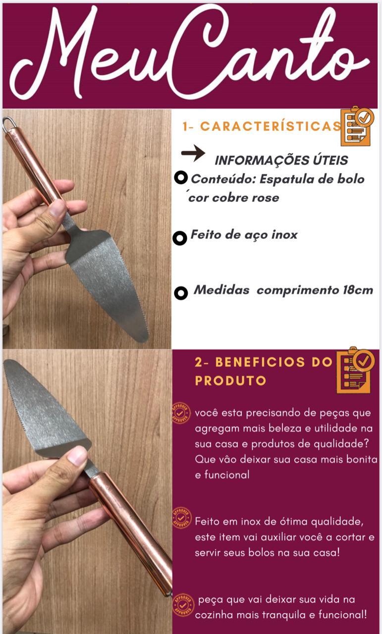 Espatula para cortar bolo aço inox rose cobre 27 cm