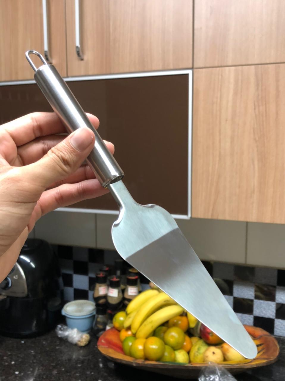 Espatula para cortar bolo pá para torta bolo aço inox 26 cm