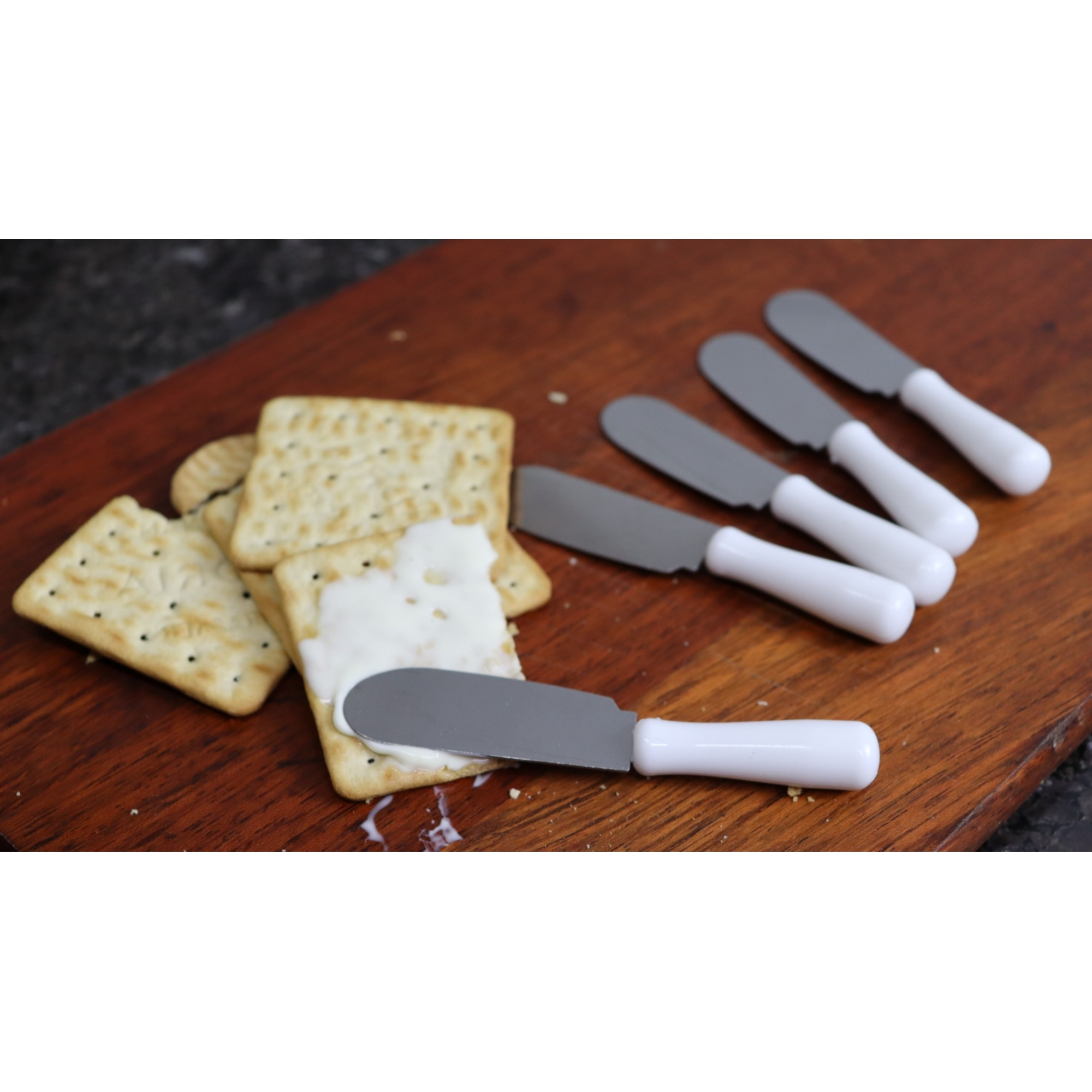 espátula para manteiga pate geleia café kit 6 unidades10cm branca