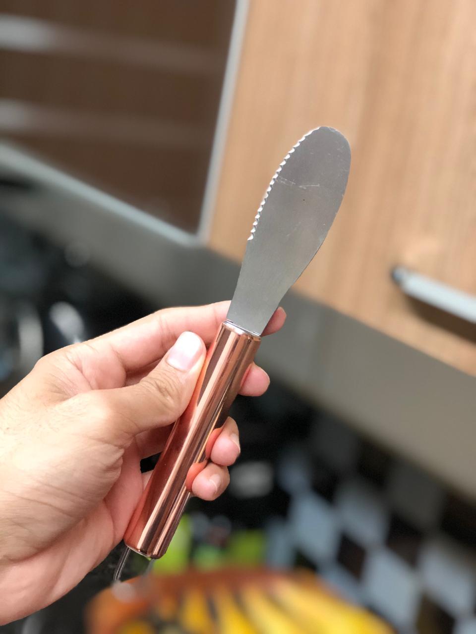 Espatula para manteiga pate geleia serrilhada rose aço inox 21cm