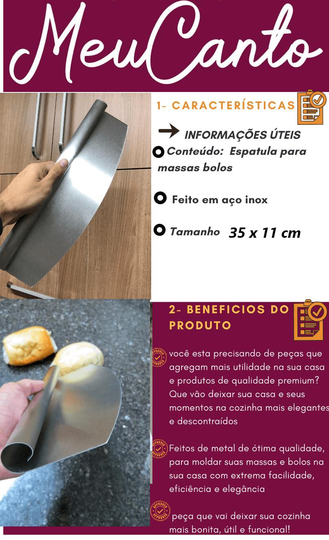Espatula para massas pizzas pães Mimo Style em aço inox 35x11cm raspadoras espatula confeiteiro padeiro