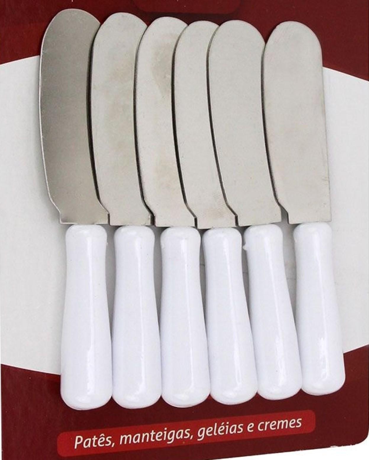 espátula para servir patê manteiga geleia café kit 6 unidades10cm branca