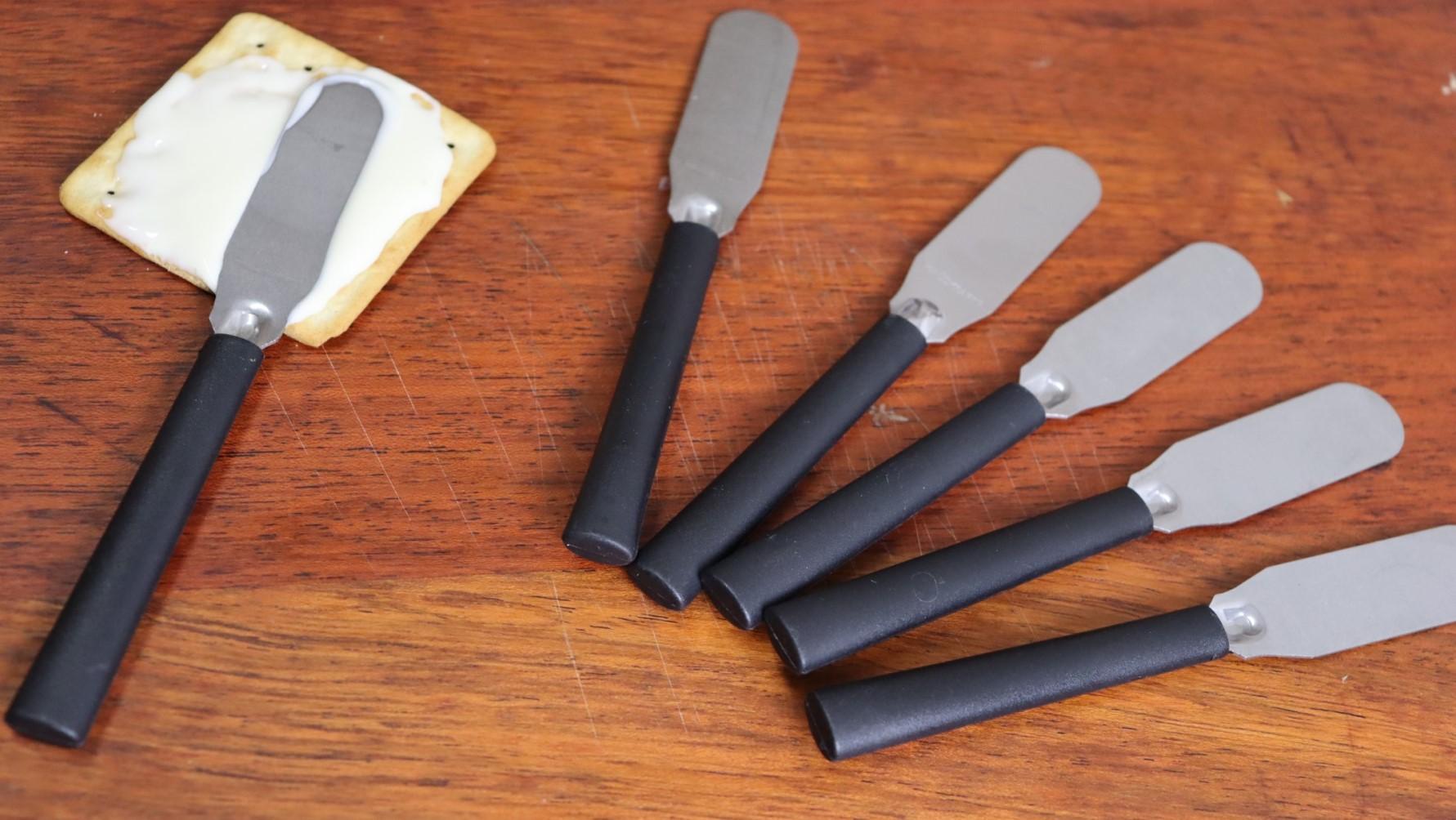 espátula para servir patê manteiga geleia café kit 6 unidades 14cm preta