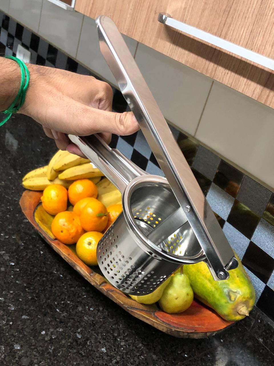 Espremedor de batatas inox alicate com tambor removível qualidade 26 cm amassador de batata