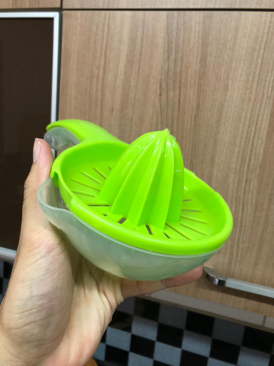 Espremedor de laranja limão manual frutas com base para suco qualidade verde