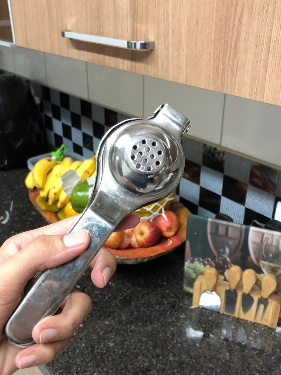 Espremedor de limão manual resistente aço inox 20 cm qualidade