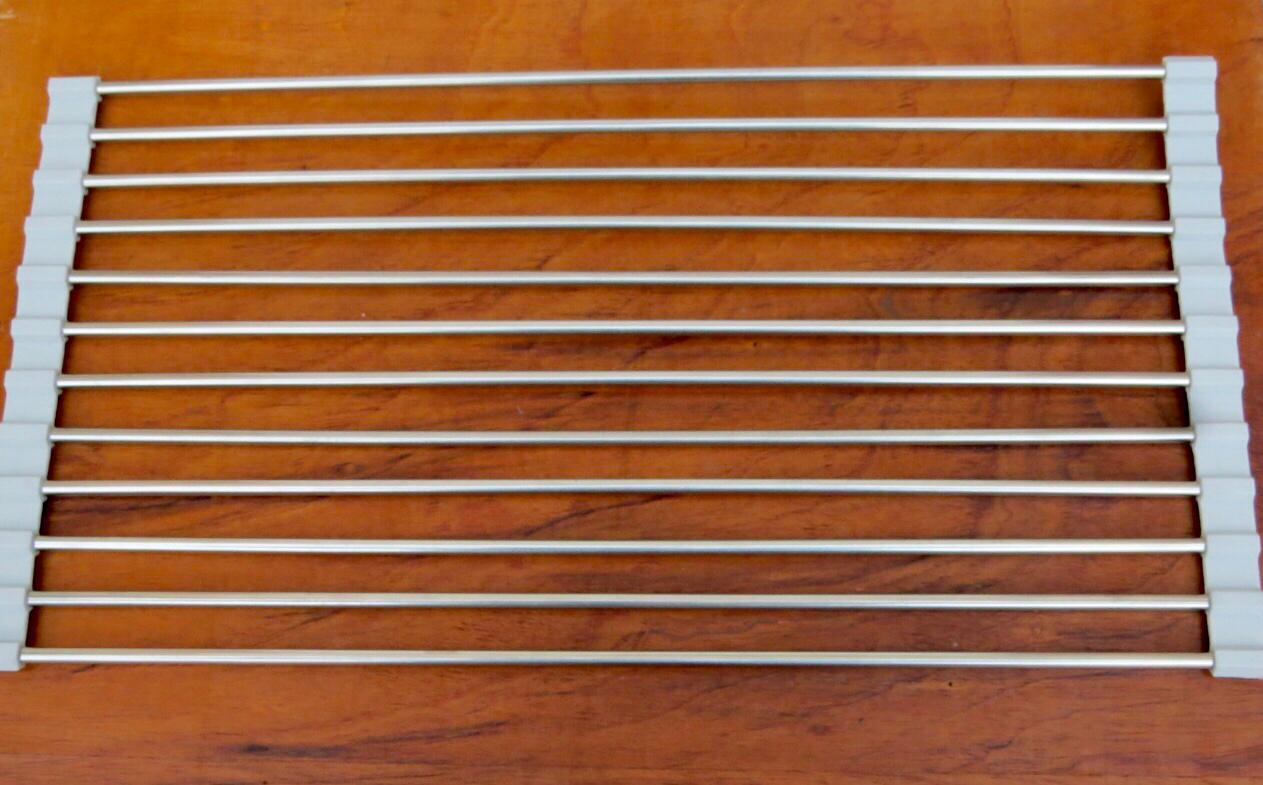 Esteira escorredora multifunções louças e alimentos aço inox e silicone 48 x 24 cm