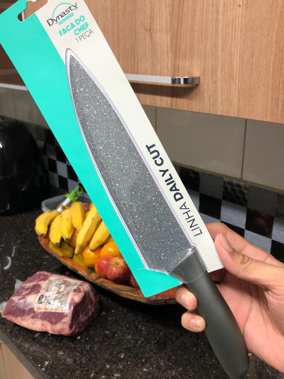 Faca Chef cozinha churrasco profissional picanheira 8pol em aço inox com pintura antiaderente
