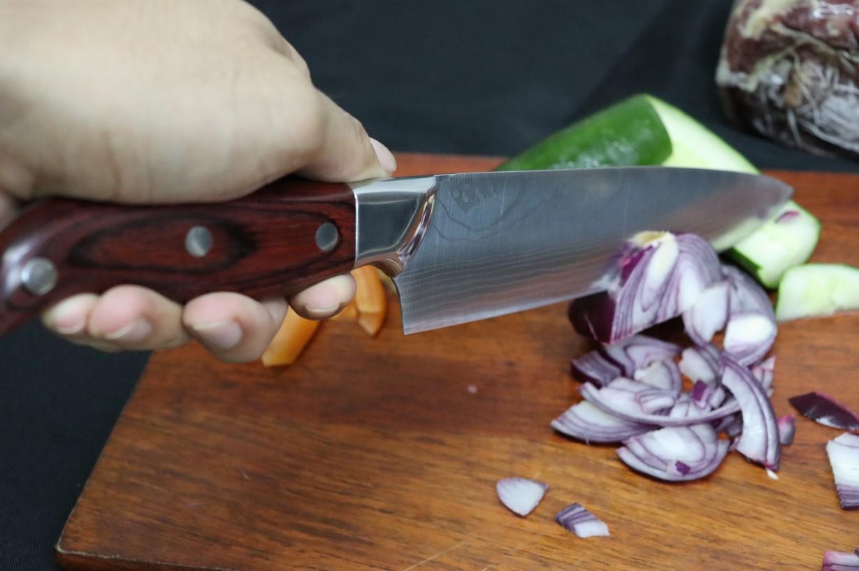 Faca Chef cozinha churrasco profissional picanheira madeira 32,5cm em aço inox