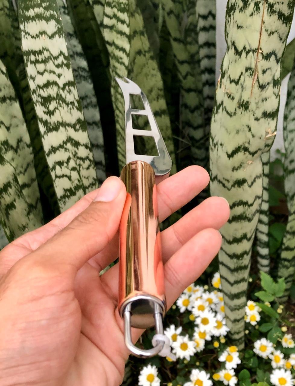 Faca cortadora de queijo aço inox cobre rose gold MimoStyle