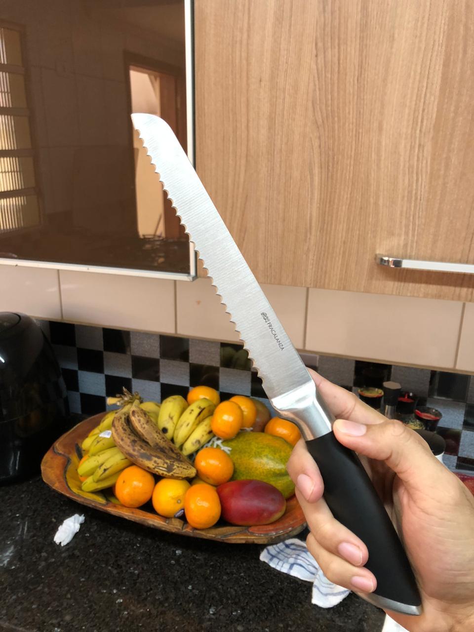 Faca de pão com serras grande faca para bolo serrilhada em aço inox