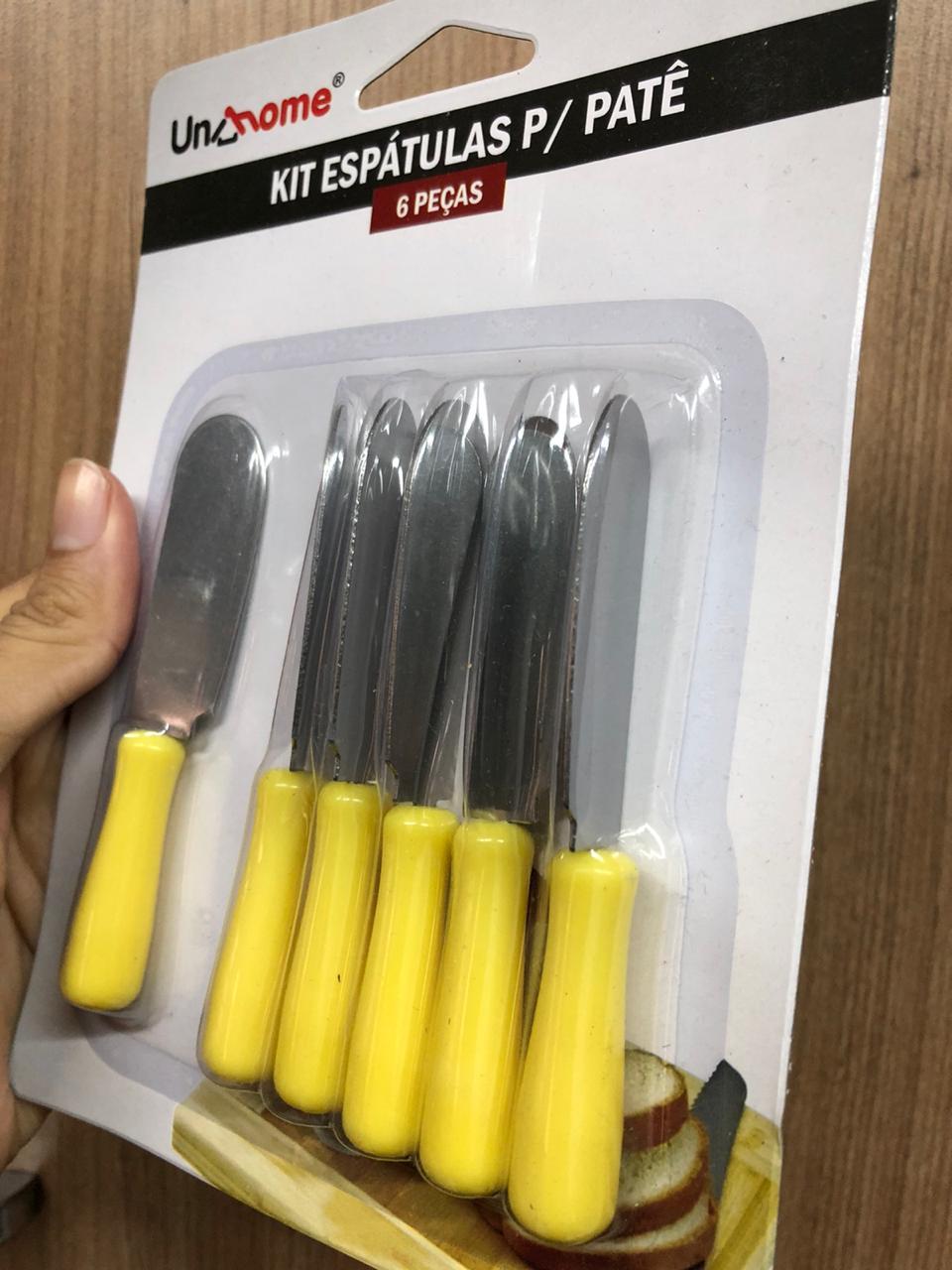 faca espátula para servir patê manteiga geleia café kit 6 unidades 10cm amarelo
