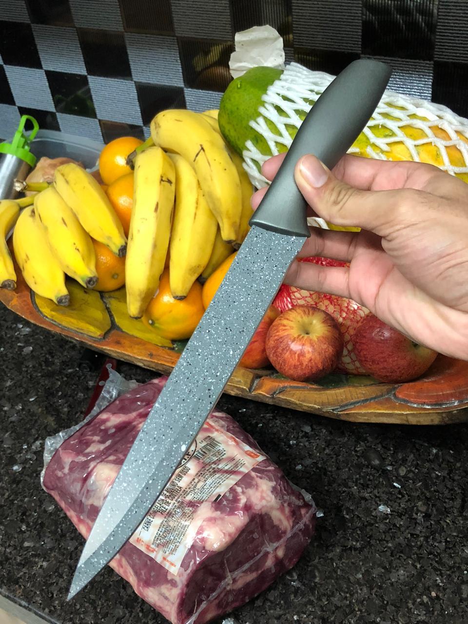 Faca para carne churrasco picanheira cozinha chef de aço inox premium cinza
