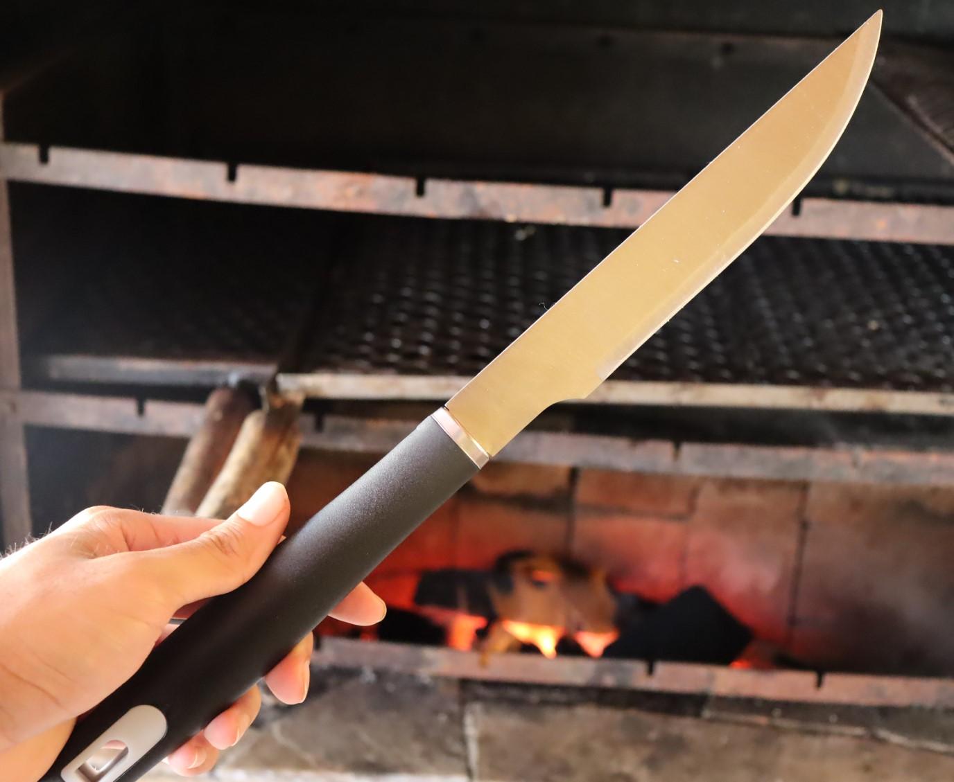 Faca para carne churrasco picanheira cozinha chef de aço inox premium preta 38cm