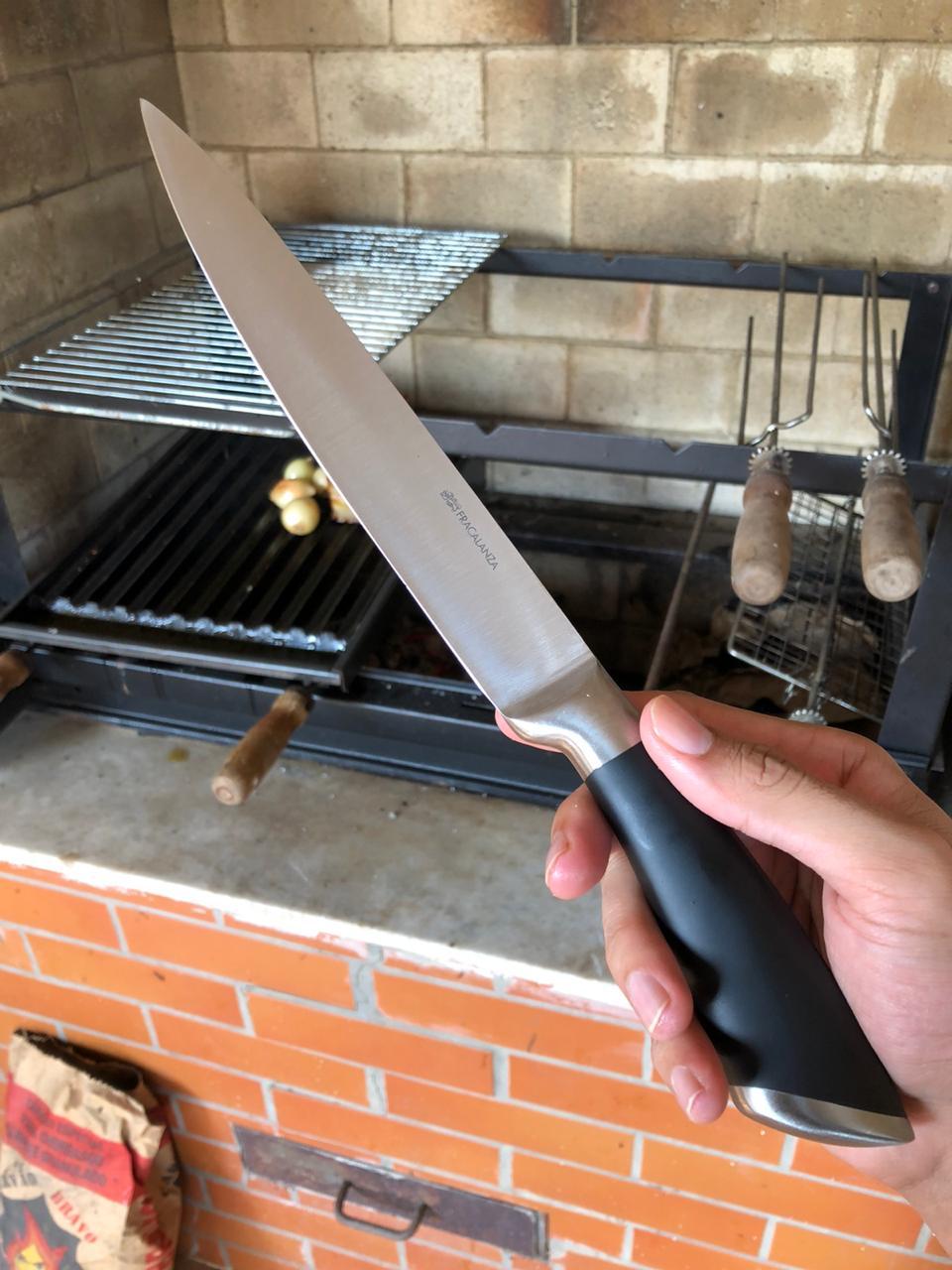 Faca para carne churrasco picanheira cozinha chef de aço inox premium preta 8pol