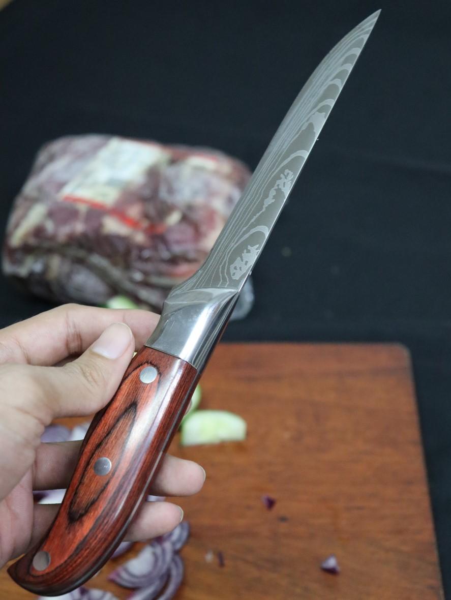 Faca para desossar carnes açougueiro chef cozinha churrasco em aço inox com madeira
