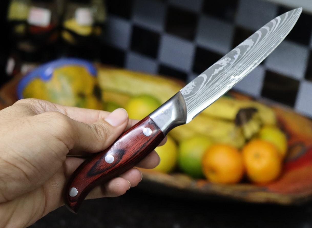 Faca para files cozinha churrasco profissional legumes madeira 22,5cm em aço inox