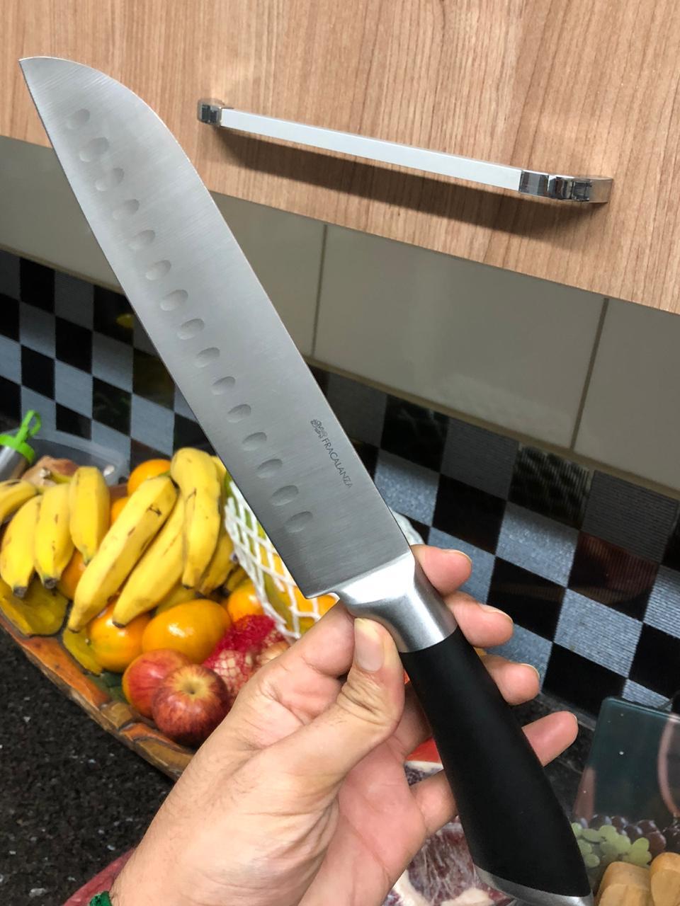 Faca santoku de cozinha chef churrasco sushi fatiar e picar em aço inox