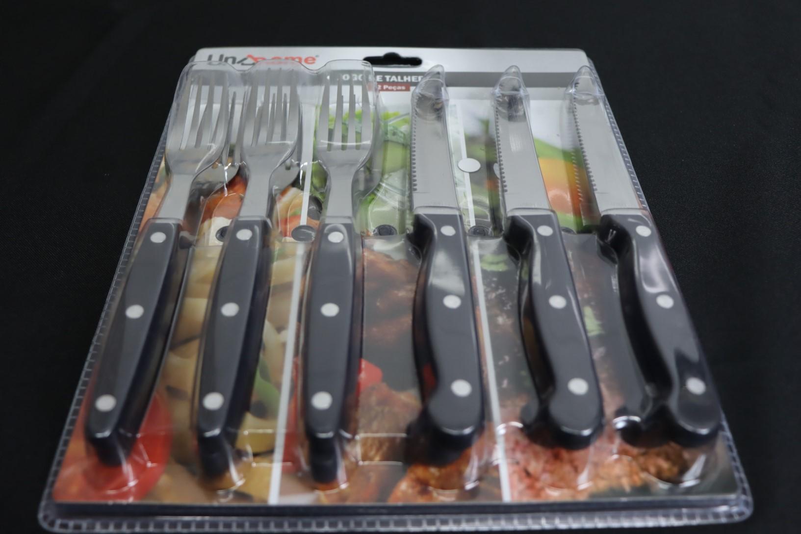 faqueiro jogo de garfo e faca 12 peças talheres em aço inox para churrasco almoço e janta