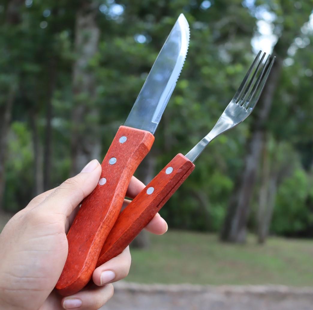 faqueiro jogo de garfo e faca 12 peças talheres em aço inox para churrasco almoço e janta madeira