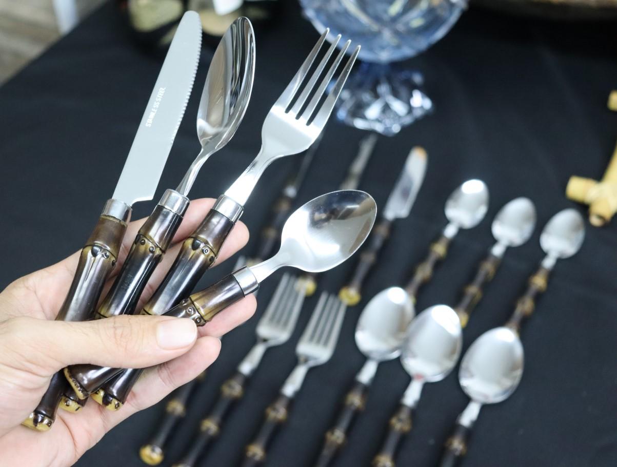 faqueiro jogo de talheres aço inox bambu 24 peças talheres para churrasco almoço e janta