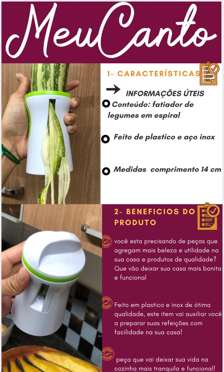 Fatiador em espiral cortador de legumes vegetais macarrão abobrinha Branco