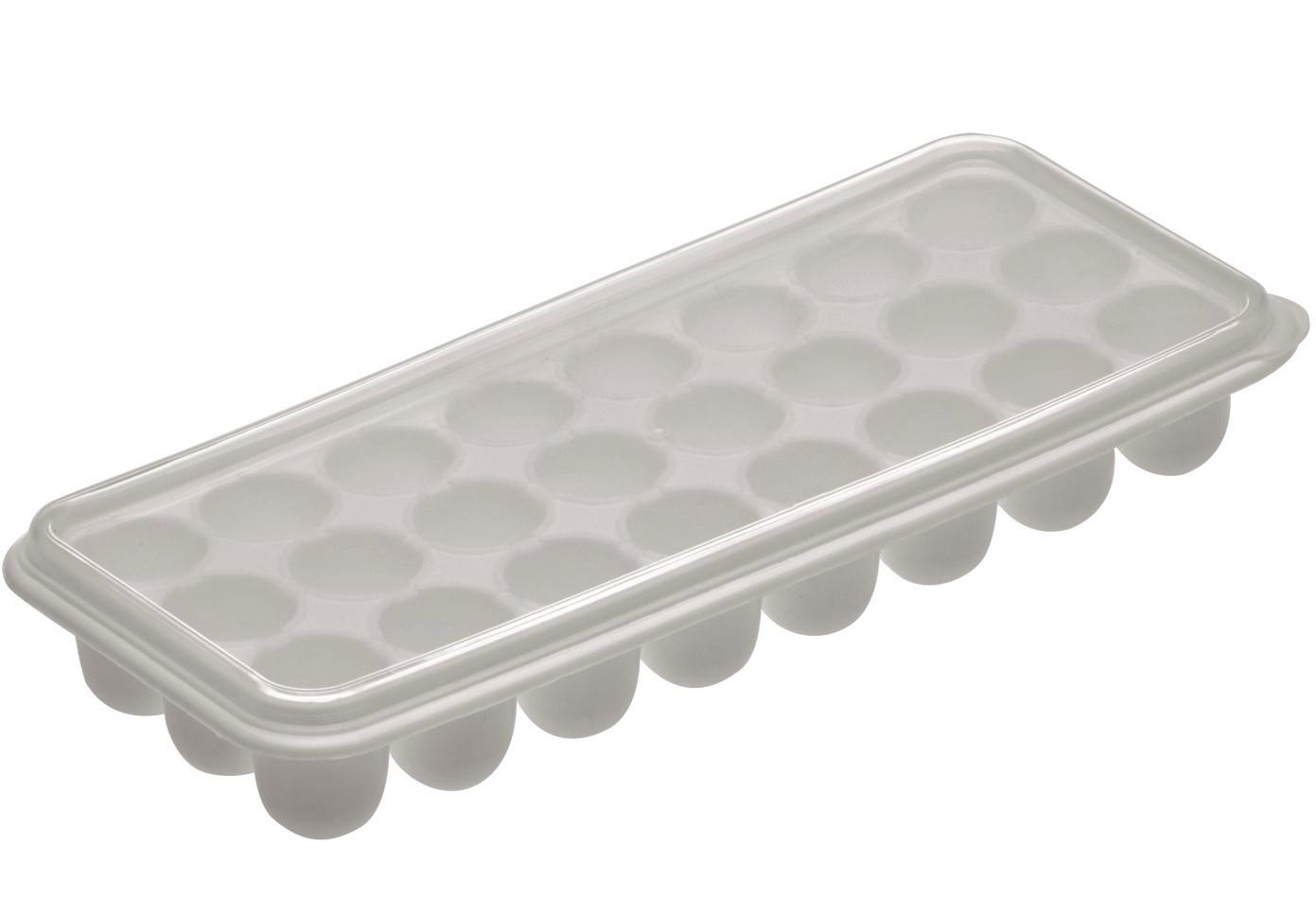 Forma de gelo papinha com tampa 24 cubos bola livre de BPA cinza claro