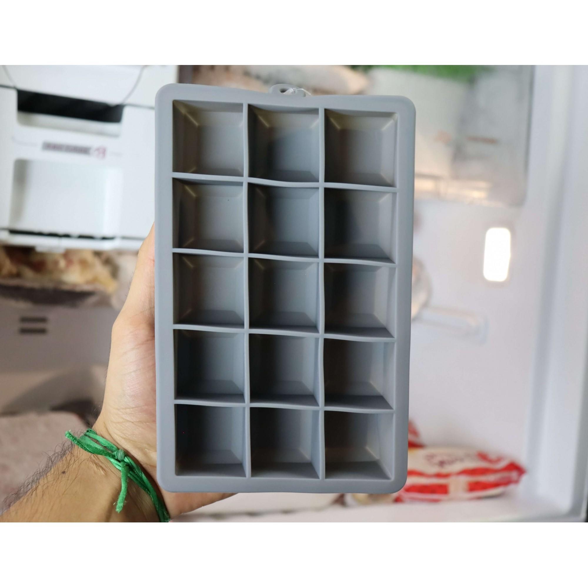 Forma de gelo papinha de silicone 15 cubos livre de bpa cinza